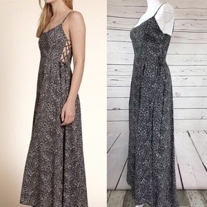 Hollister Grey Floral Maxi Dress Side Lace Up Lrg